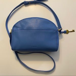 Fossil periwinkle blue leather cross body purse